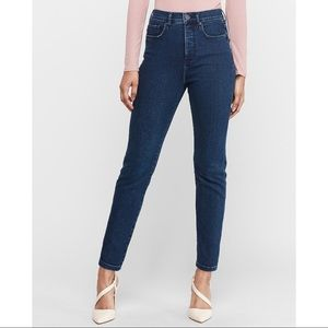 EXPRESS High Waisted Dark Wash Slim Ankle Jeans